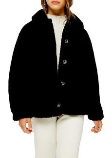 Topshop Faux Shearling Hooded Coat (Petite)