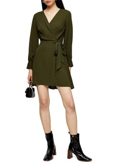 Topshop Faux Wrap Long Sleeve Minidress