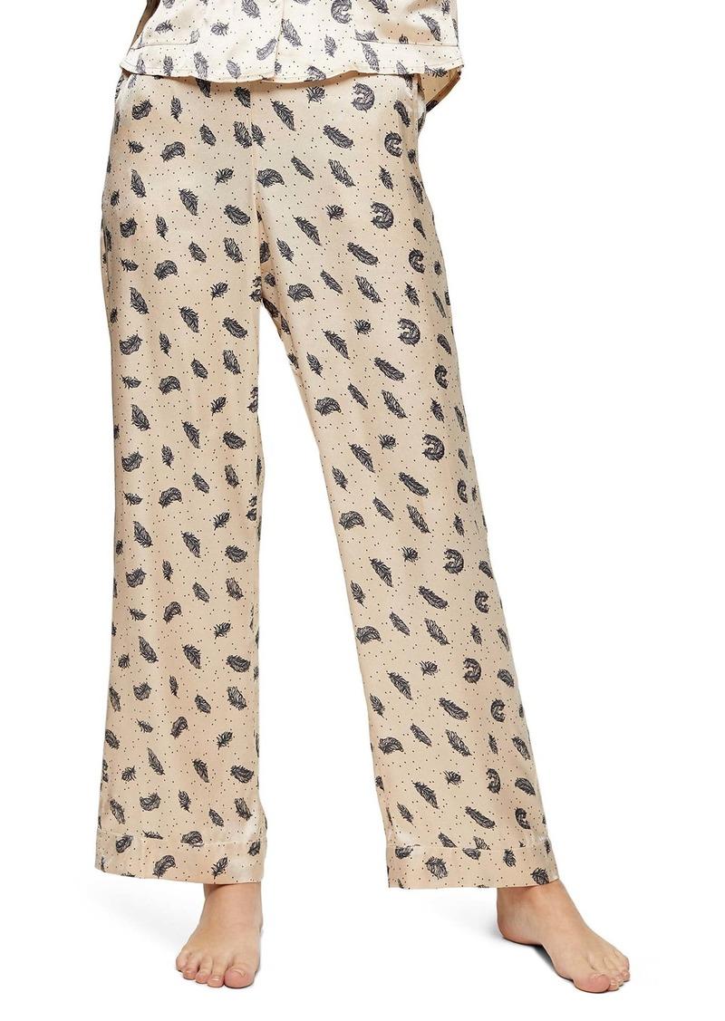 Topshop Feather Print Satin Pajama Pants