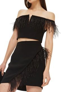Topshop Feather Trim Faux Wrap Miniskirt