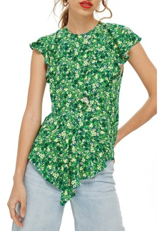 Topshop Field Floral Frill Blouse
