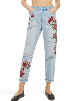 Topshop Fire Flower High Rise Ripped Mom Jeans (Petite)