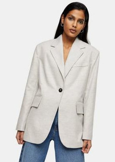 Topshop flannel suit blazer in light gray
