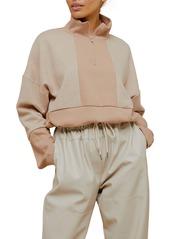 Topshop Fleece Panel Mock Neck Sweatshirt