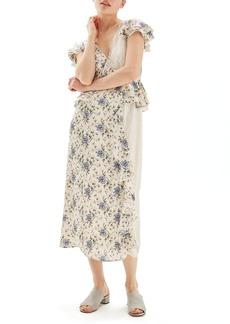 Topshop Floral & Lace Midi Dress
