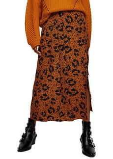 Topshop Floral Animal Box Pleat Midi Skirt