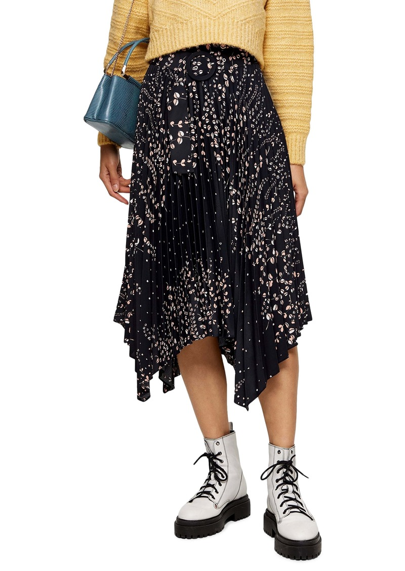 Topshop Floral Belted Pleated Midi Skirt