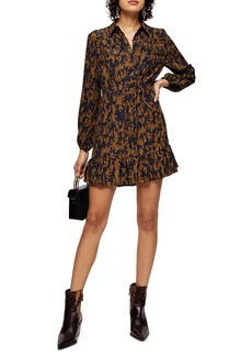 Topshop Floral Camouflage Long Sleeve Shirtdress