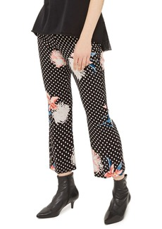 Topshop Floral Dot Flare Trousers