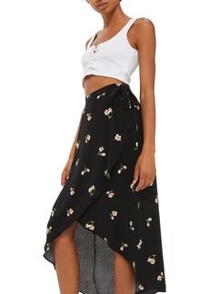 Topshop Floral Dot Wrap Skirt