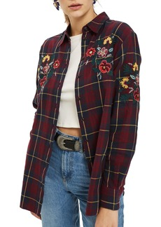 Topshop Floral Embroidered Check Shirt