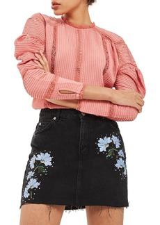 Topshop Floral Embroidered Denim Skirt