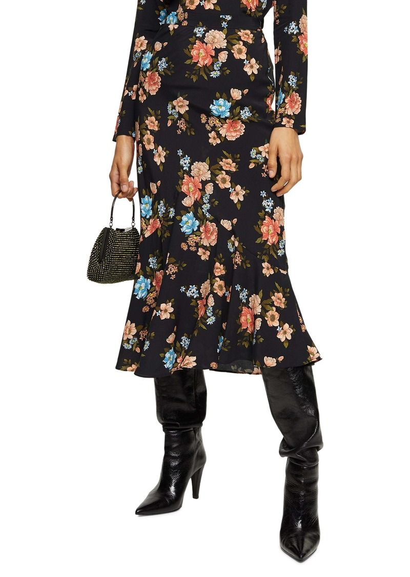 Topshop Floral Flounce Midi Skirt