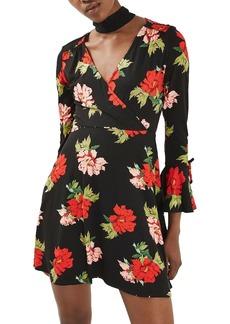 Topshop Floral Flute Sleeve Skater Dress