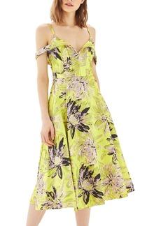 Topshop Floral Jacquard Midi Dress