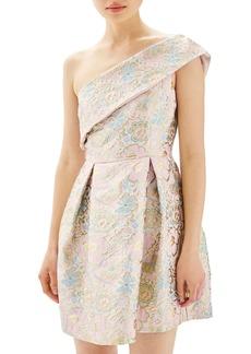 Topshop Floral Jacquard One-Shoulder Minidress