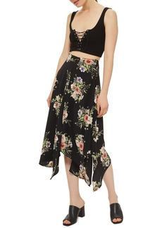 Topshop Floral Midi Skirt