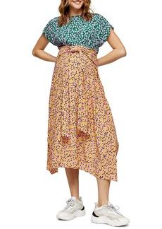 Topshop Floral Mix Handkerchief Hem Maternity Dress
