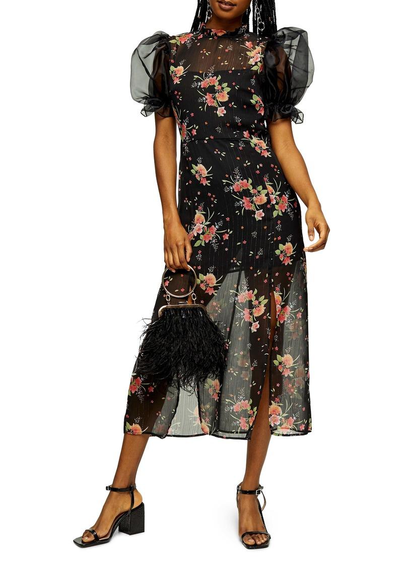 Topshop Floral Organza Midi Dress