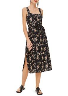 Topshop Floral Pinafore Midi Dress