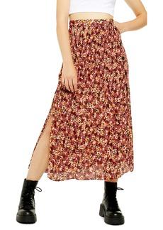 Topshop Floral Pleated Midi Skirt