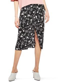 Topshop Floral Plissé Skirt