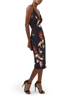 Topshop Floral Plunge Body-Con Midi Dress