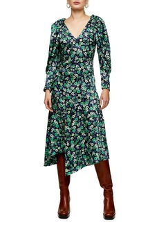 Topshop Floral Print Asymmetrical Long Sleeve Dress