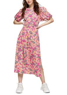 Topshop Floral Print Bubble Sleeve Minidress