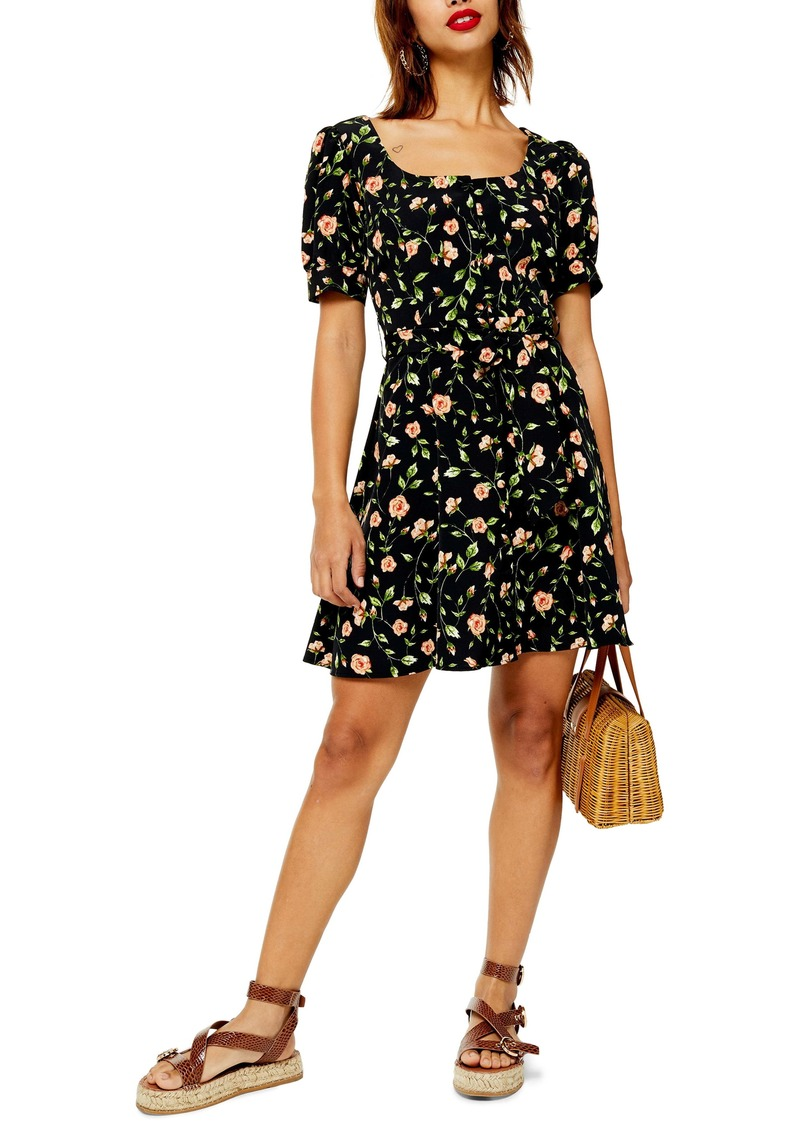 Topshop Floral Print Button Minidress