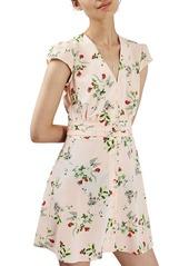 Topshop Floral Print Cap Sleeve Minidress