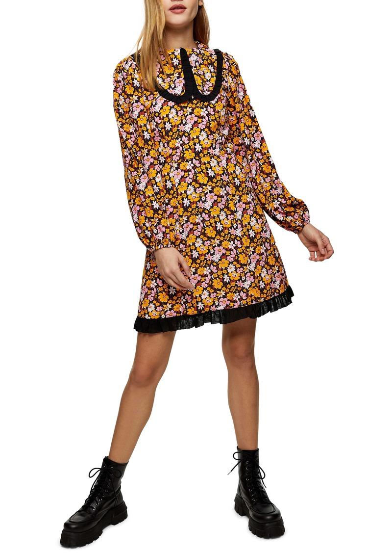 Topshop Floral Print Collar Long Sleeve Minidress