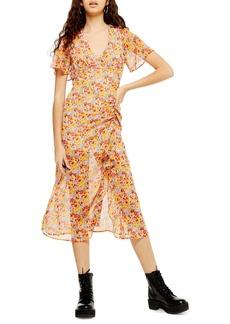 Topshop Floral Print Flutter Sleeve Chiffon Midi Dress