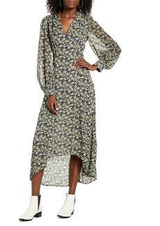 Topshop IDOL Floral Print Long Sleeve High/Low Dress