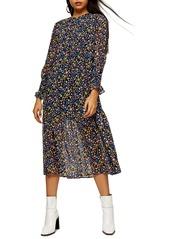 Topshop Floral Print Long Sleeve Midi Dress