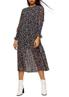 Topshop Floral Print Long Sleeve Midi Dress
