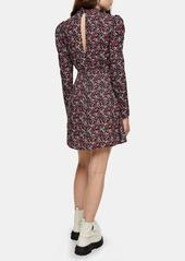 Topshop Floral Print Long Sleeve Minidress