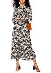 Topshop Floral Print Long Sleeve Prairie Dress