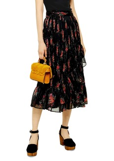 Topshop Floral Print Metallic Faux Wrap Skirt