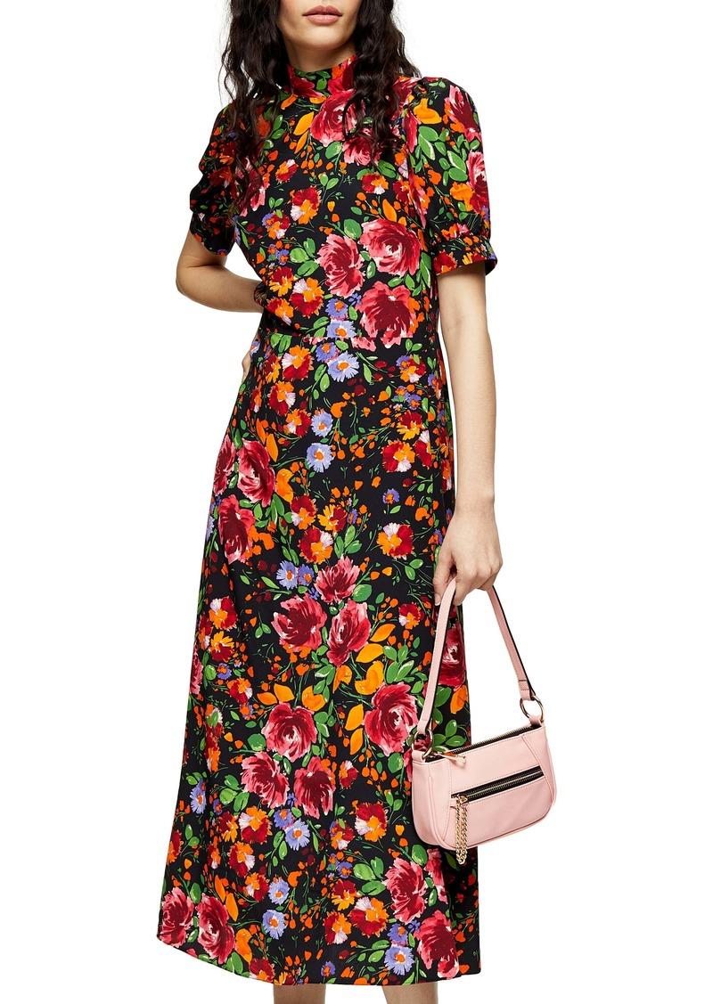 Topshop Floral Print Midi Tea Dress
