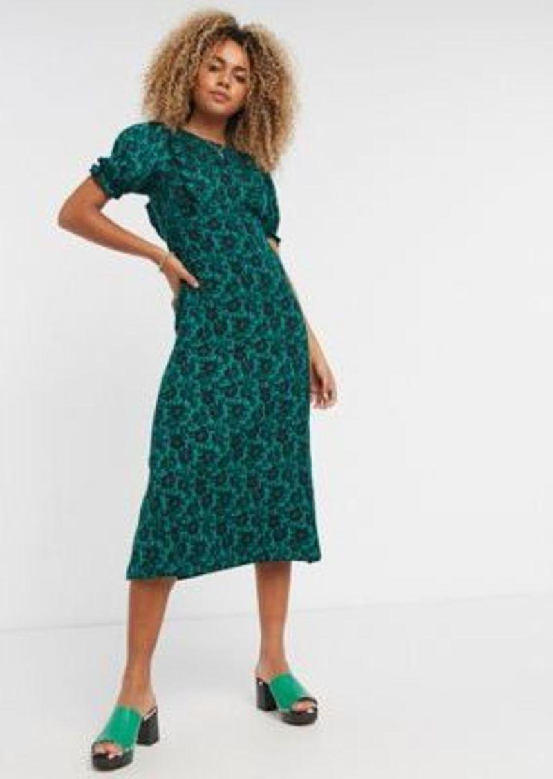 Topshop floral print midi tea dress in green