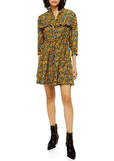 Topshop Floral Print Pleat Minidress (Regular & Petite)