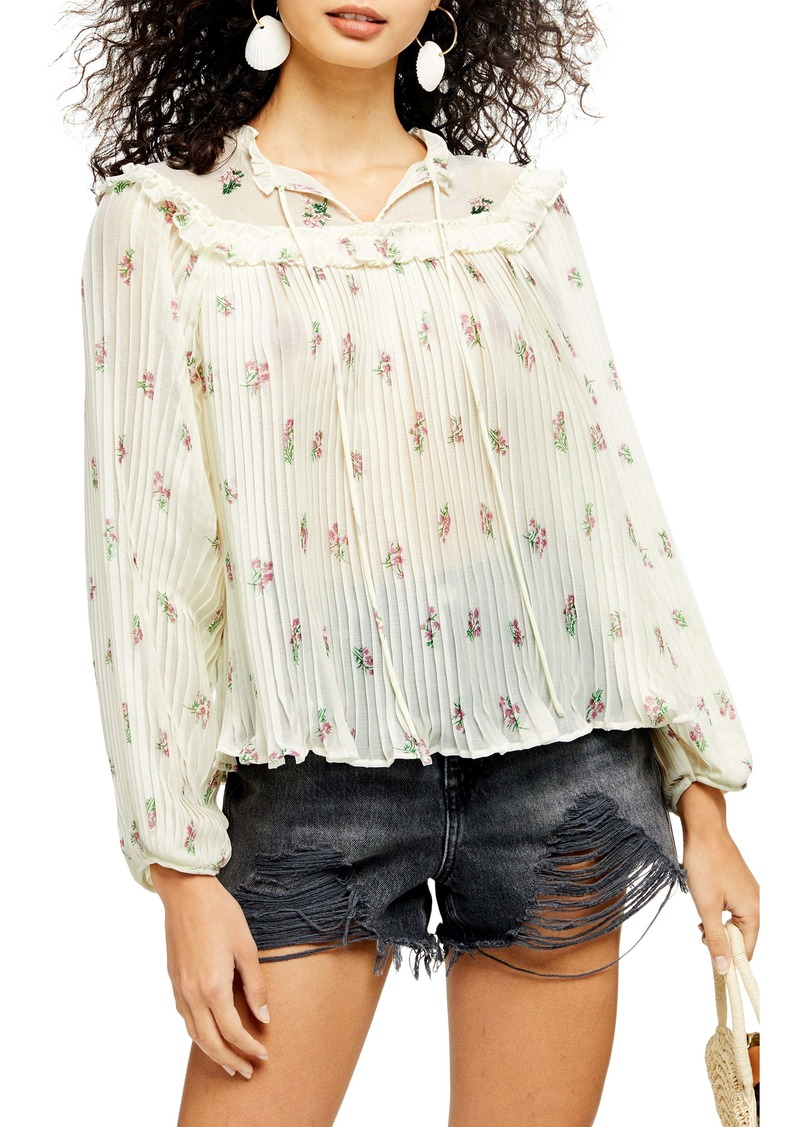 Topshop Floral Print Pleated Ruffle Blouse