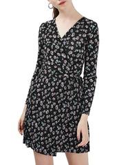 Topshop Floral Print Plissé Wrap Dress