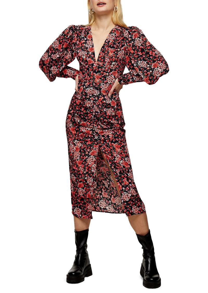 Topshop Floral Print Ruched Blouson Long Sleeve Dress
