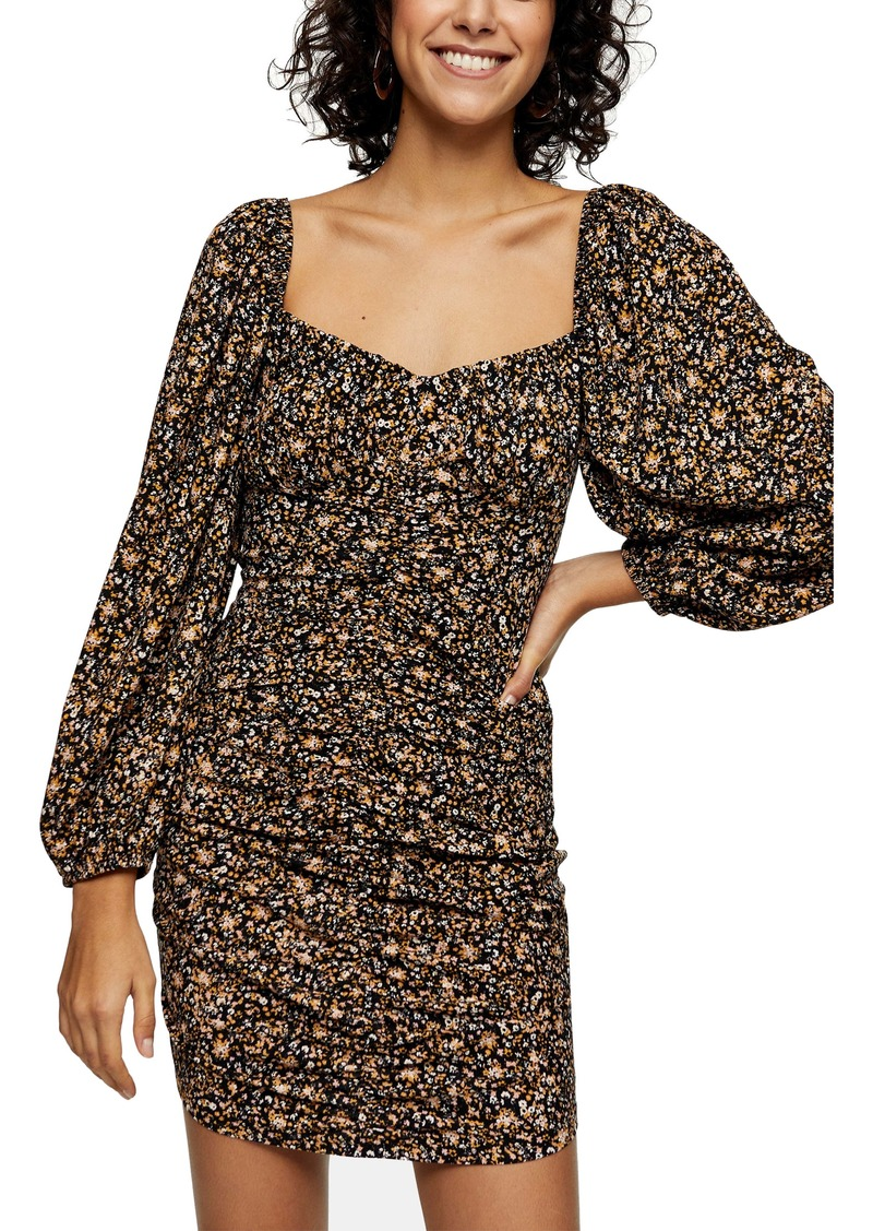 Topshop Floral Print Ruched Long Sleeve Mini Tea Dress
