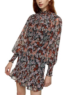 Topshop Floral Print Ruched Long Sleeve Minidress