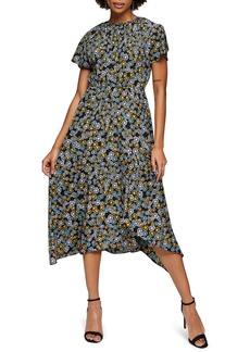 Topshop Floral Print Ruched Neck Midi Dress