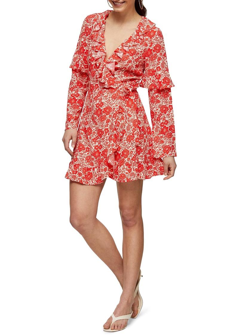 Topshop Floral Print Ruffle Long Sleeve Wrap Minidress