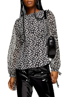 Topshop Floral Print Sheer Sleeve Blouse